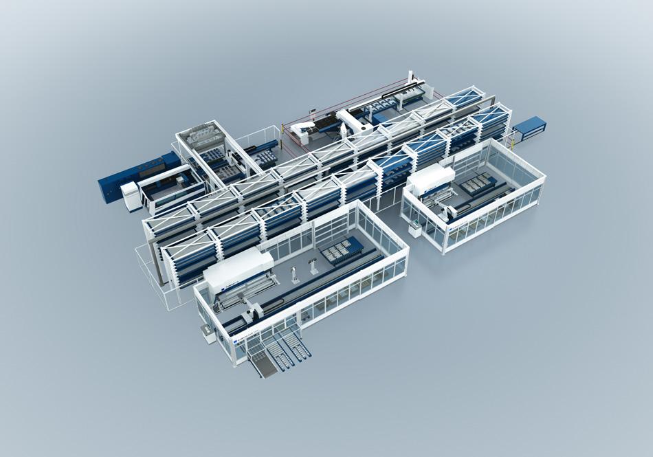 Automatisierte Prozessverkettung einer modernen Blechfertigung der Firma Trumpf (Laser-, Stanz- und Abkantanlagen)