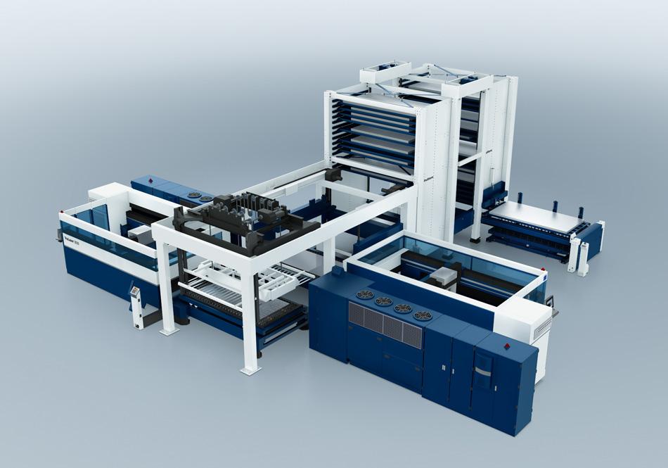 Automatisierungsanlage mit zwei Laserschneidmaschinen - versorgt werden diese nur von einem einzigen Beladesystem